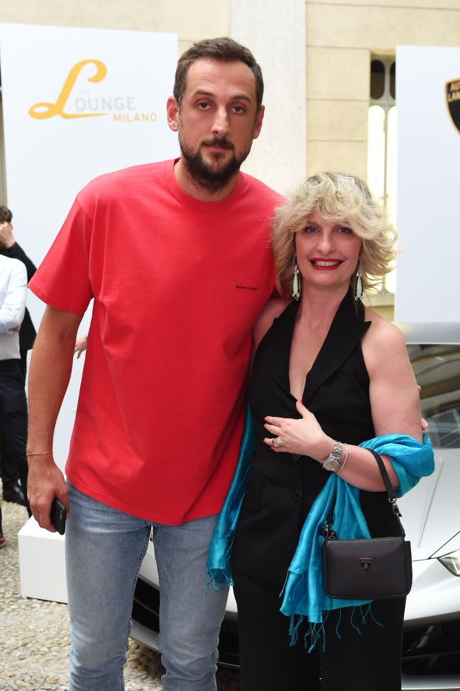 MILAN, ITALY - JUNE 16: Marco Belinelli and Katia Bassi attend Collezione Automobili Lamborghini SS 19 Presentation at Milan Men's Fashion Week 2018 on June 16, 2018 in Milan, Italy. (Photo by Stefania M. D'Alessandro/Getty Images for Lamborghini) *** Local Caption *** Marco Belinelli;Katia Bassi