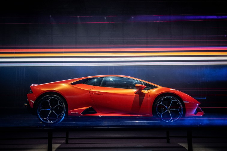 MILAN, ITALY - FEBRUARY 28: A general view of the European Premiere Lamborghini Huracán EVO event on February 28, 2019 in Milan, Italy. (Photo by Valerio Pennicino/Getty Images for Lamborghini)